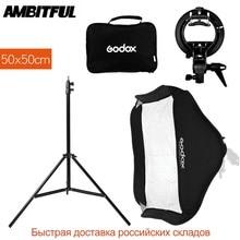 Godox 50x50 cm/20x20 pulgadas Flash Softbox + S tipo de soporte Bowen Kit de montaje + soporte de luz 2 m para fotografía de cámara
