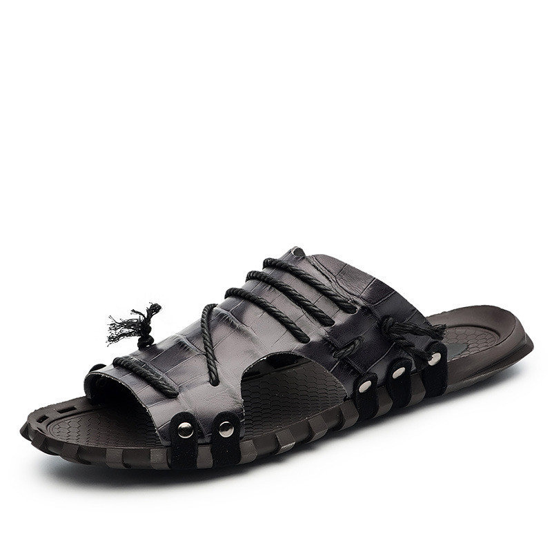 Mens Black Leather Lined Cross Strap Summer Holiday Beach Sandals