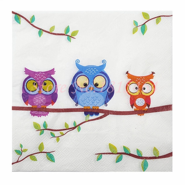 5 Napkins Owls on Branch 33 x 33cm Tissues Decoupage Paper Party Card Crafts