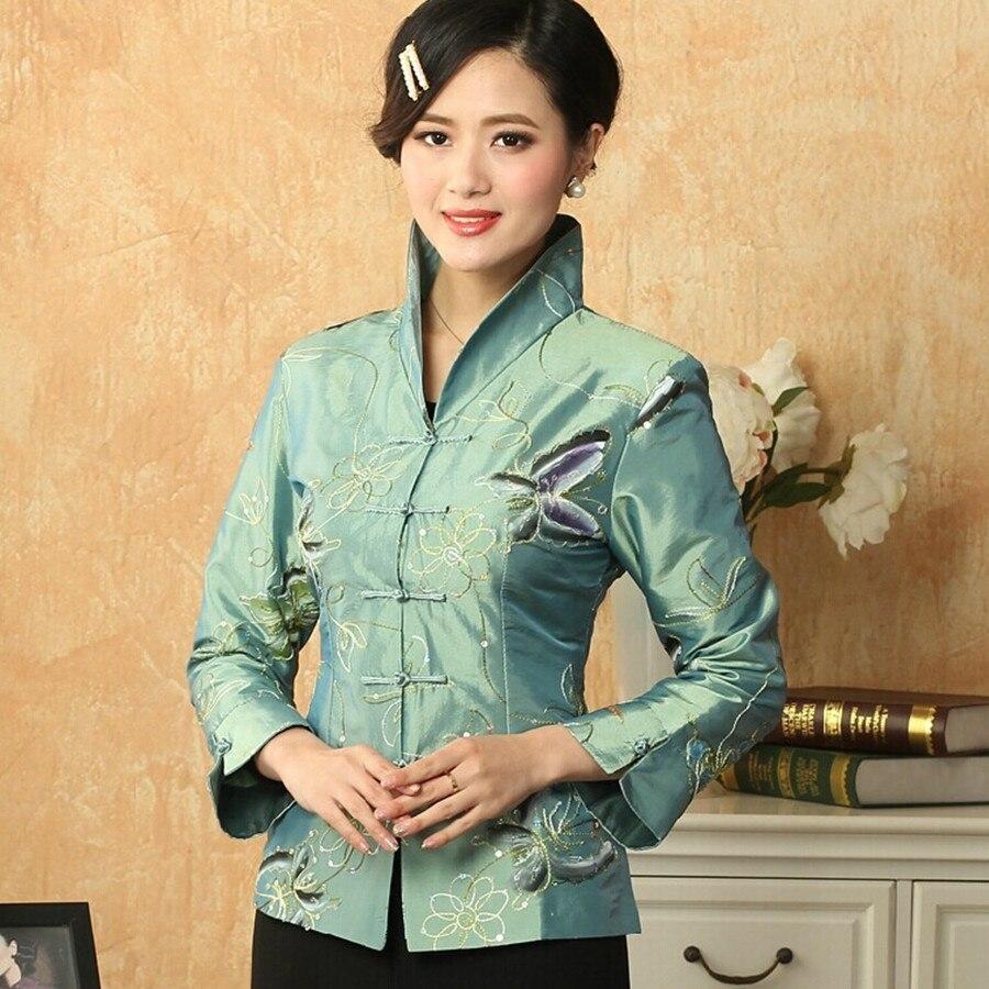 Venta caliente vintage las mujeres chinas de satén de seda bordado chaqueta escu