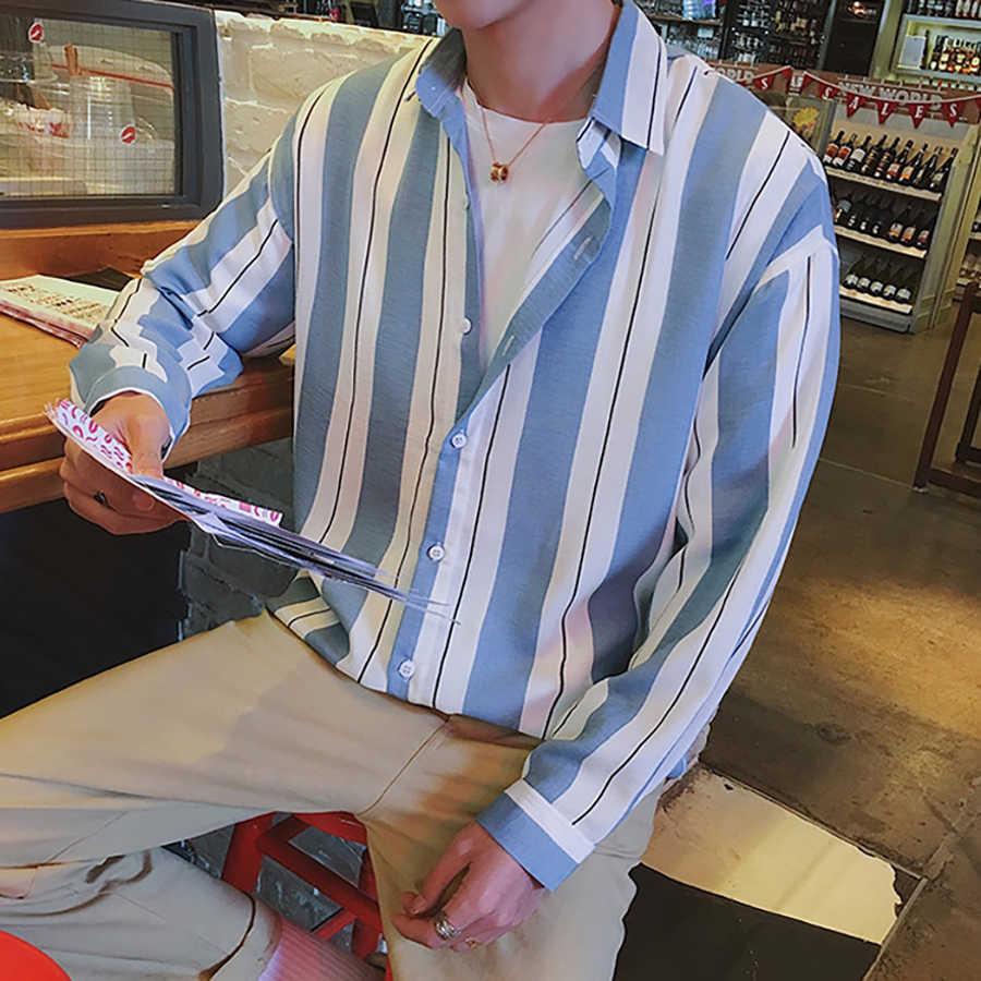 97ff9b89b2e5 ... Oversized Striped Shirt Men Vertical Long Sleeve Korean Fashion Mens  Shirts Casual Palace Streetwear Hip Hop ...