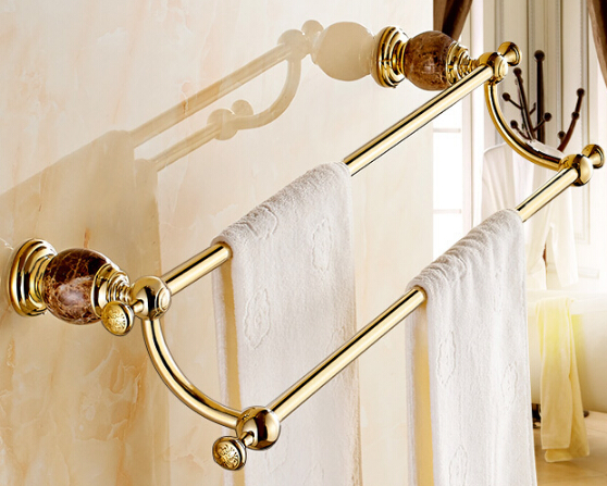 New Arrival Bathroom Accessories Wall Mounted 24 inch Jade Golden Brass double Towel Bar.Towel holder bath towel rack towel rail aluminum wall mounted square antique brass bath towel rack active bathroom towel holder double towel shelf bathroom accessories