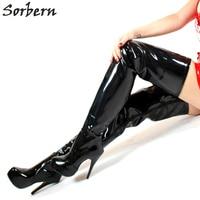 Sexy Thigh High Boots Unisex 15Cm Extreme High Heels Thick Platform Shoes Woman New Handmade Black Boots Women Custom Leg Size