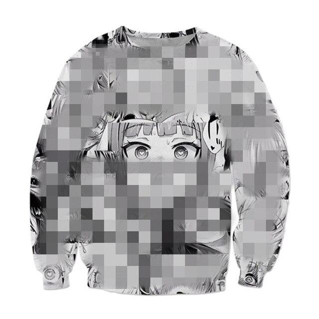 3D Ahegao Hoodie sweatshirt Hooded Men women Shy Girl Face Sweatshirt anime Streetwear Harajuku Oversized ZIPPER Jackets clothes