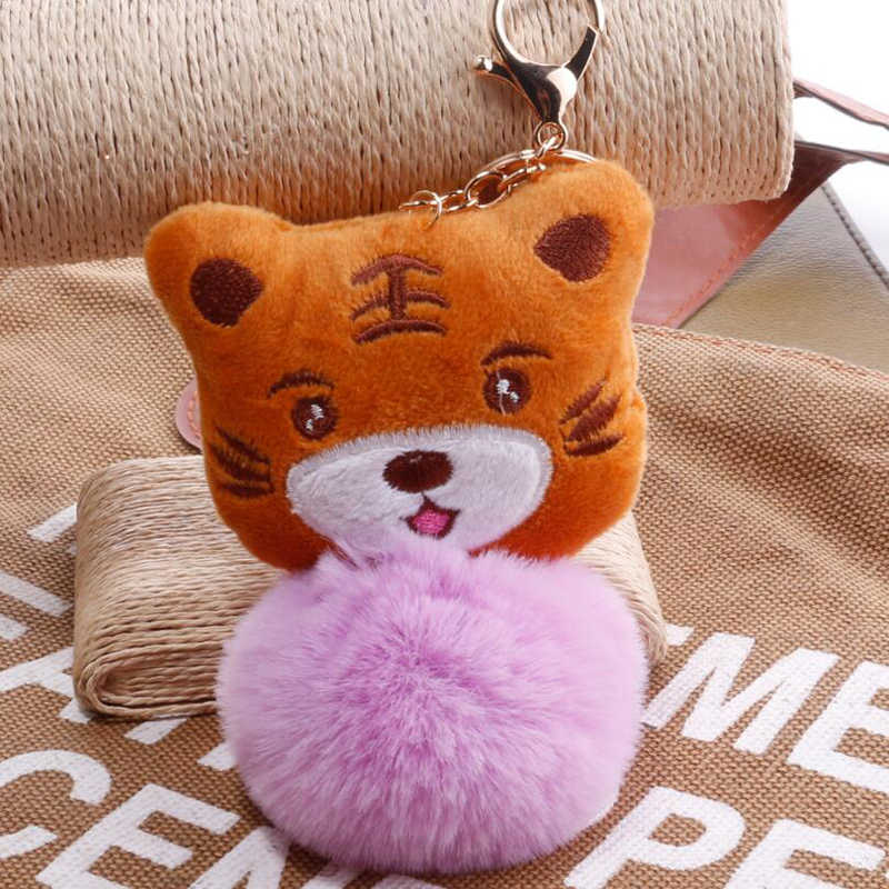 1 Pcs Adorável Fluffy Cat Chaveiro Tigre Faux Pele De Coelho Pompom bola Chaveiro Pingente Charme Bag Car Chaveiro Para As Mulheres jóias