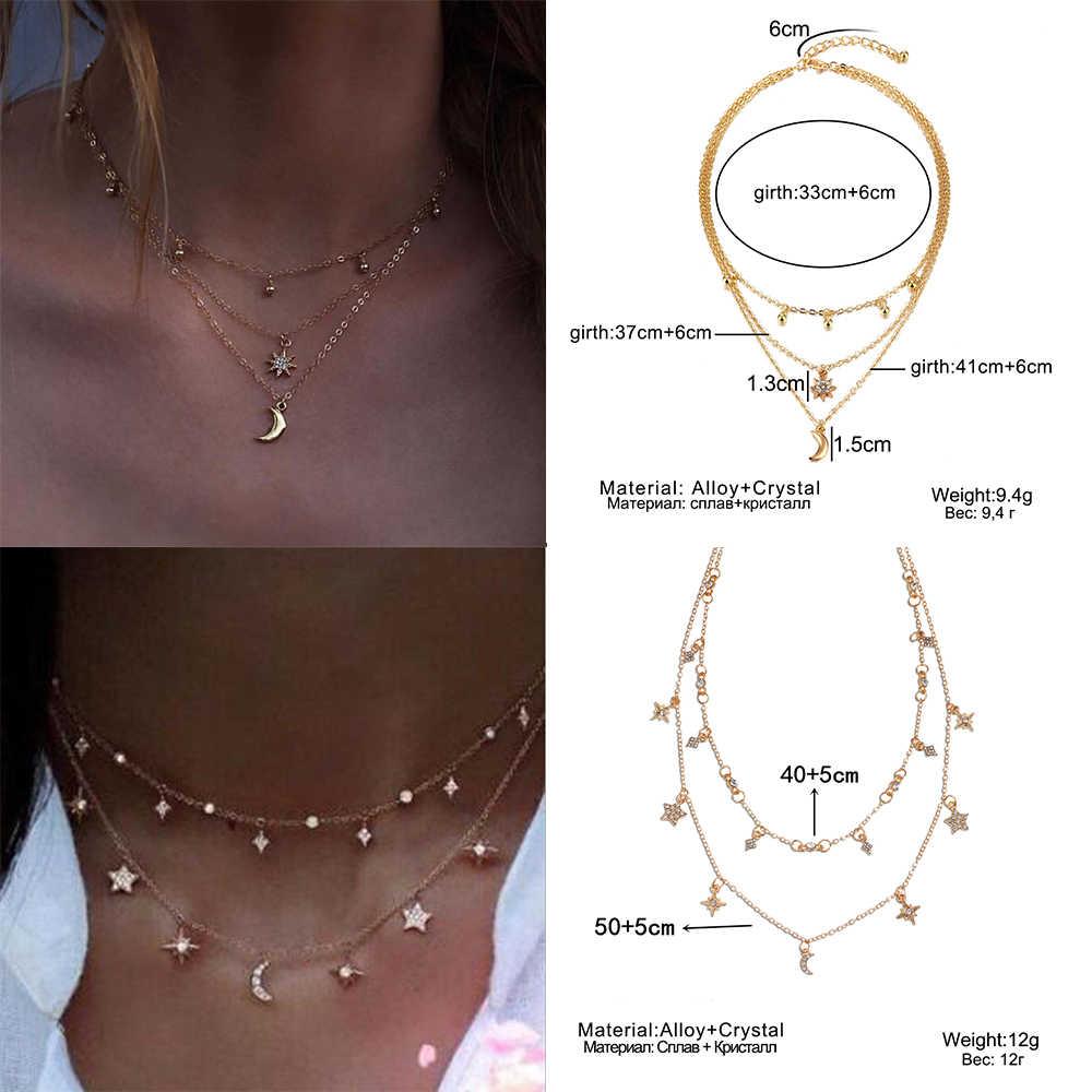 26 стиль богемное винтажное многослойное ожерелье с подвеской для женщин Seashell Star колье-чокер с Луной 2019 Collares Iparan Jewelry