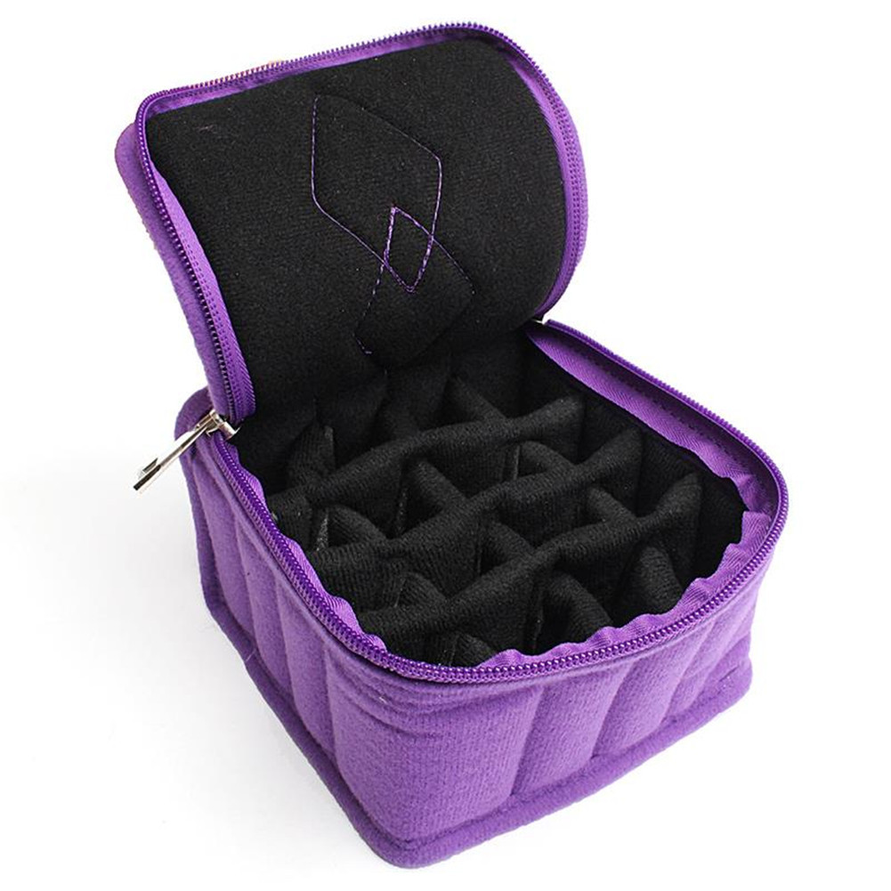 16 Bottles Essential Oil Storage Bag Double Zipper Contain Carrying ...