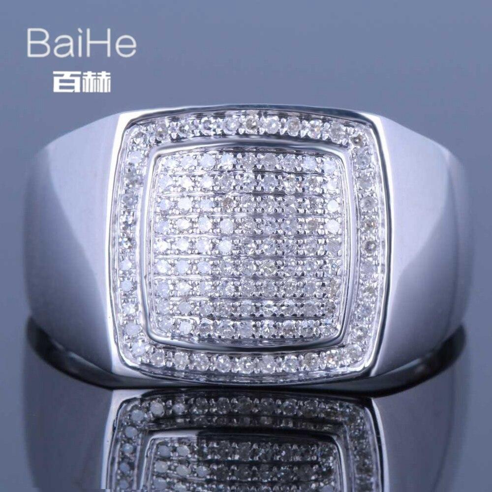 BAIHE Solid 14K White Gold(AU585) 0.45CT Certified H/SI Round Cut Genuine Natural Diamonds Wedding Men Trendy Fine Jewelry Ring