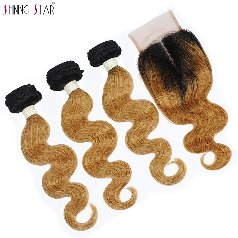 Shining Star 1B 27 Ombre Bundles With Closure Honey Blonde Malaysian Hair 3 Body Wave Bundles With Closure Human Hair Non Remy