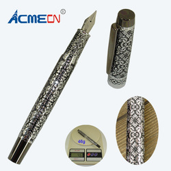 ACMECN Hi-tech Unique Design 46g Metal Heavy Pen Deboss Brass Brand Ink Cartridge Fountain Pen Luxury Signature Stationery