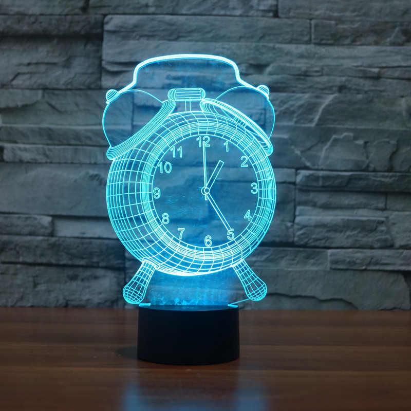 2017 מנורת שעון חזותי 3D לילדים כפתור מגע USB שינה מנורת בית תפאורה Creative מנורת שולחן מגע התאגרף