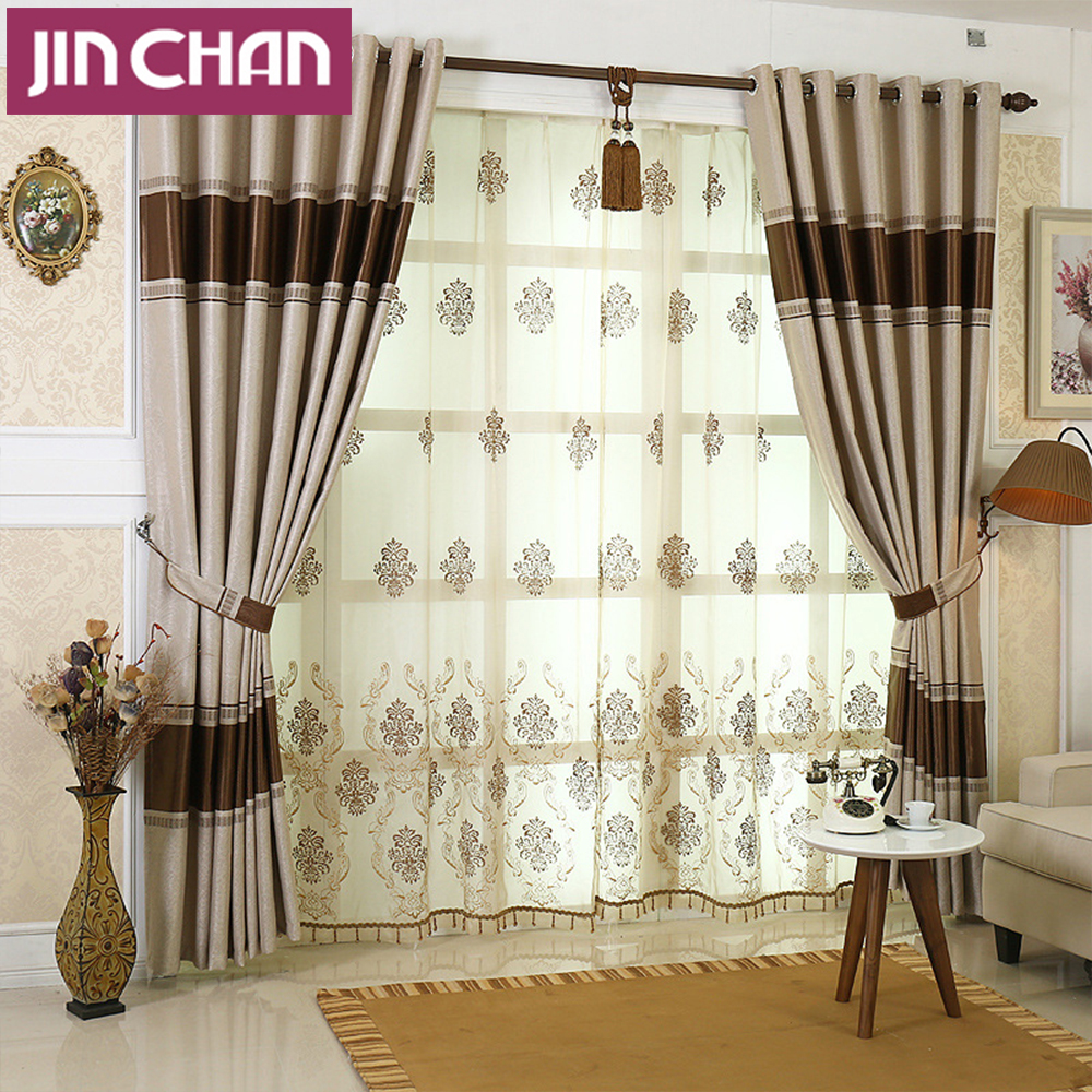 Jacquard shade window blackout curtain fabric luxury for Decoration maison rideaux fenetre