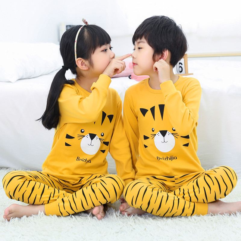 Kids Pajamas Set Boys Cartoon Dinosaur Tiger Pyjamas Kids Christmas Sleepwear Sets Cotton Children Nightwear Pajamas For Girls