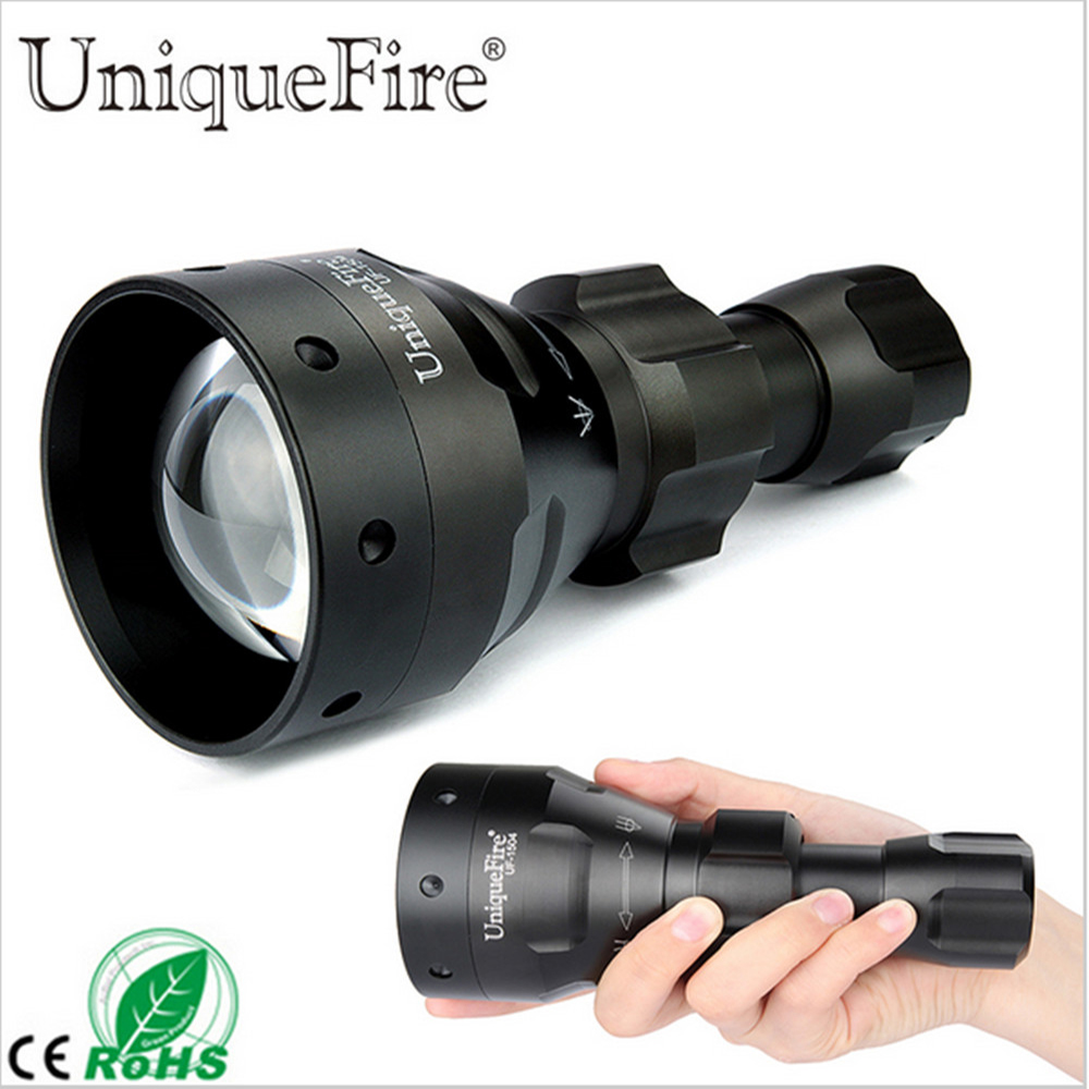 UniqueFire Hunting Flashlight UF-1504-67 Convex Lens Zoom 940nm IR LED For Rifle Hunting For 1*18650/26650 Rechargeable Battery led hunting flashlight uniquefire green red white light uf 1503 xpe torch alumium metal for outdoor camping free shipping