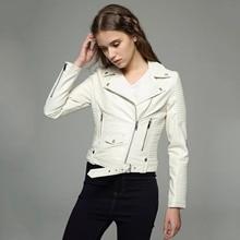 Moto Biker Jacket Ladies Slim Turn Down Collar Zipper Women Pu Faux Leather Jacket New Spring Autumn White Punk Short Coats