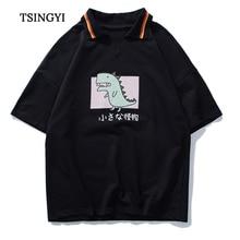 Tsingyi Japan Style Print Dinosaur Couple Women Men Polo shirts Camisa Masculina Casual Turndown Collar Short Sleeve Polo Homme turndown collar tartan print shirt