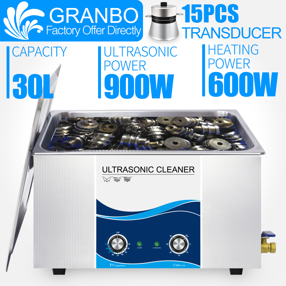 Granbo 30L 900W 110V 220V Ultrasonic Cleaner Industrial For Injector Engine Auto Parts Medical Lab PCB Cleaner Washing