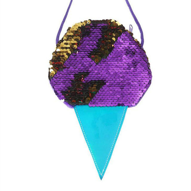 M417 Lovely Sweet Child Messenger Bag Small Sequins Ice cream Design Coin HandBags