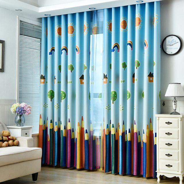 Rainbows And Pencils Children Curtains Baby Room For Living The Bedroom Blackout