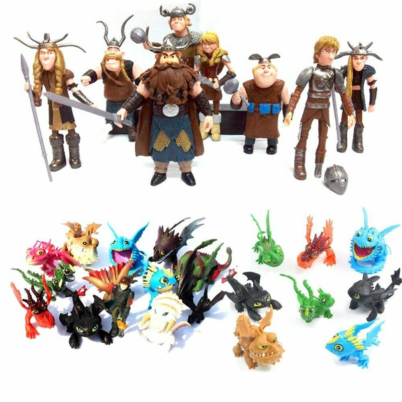 IN Stock 8-13Pcs How To Tame Dragon Hiccup Night Fury Toothless PVC Action Toys Toothless Action Figure Light Fury Nubless Best Christmas's Gift For Kids Children
