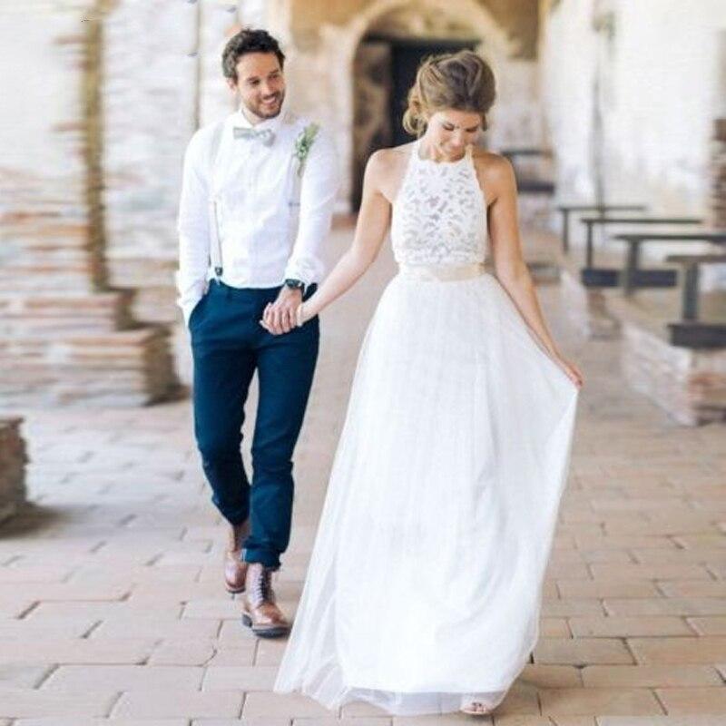 Thinyfull White Bridal Dress Vestido De Noiva Simple Beach Wedding Dresses Halter Neck Lace Backless Long
