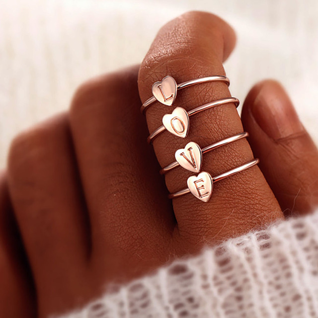 FAMSHIN Gold Silver Color Heart Letters Name Ring Set Engagement Party Jewelry