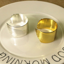 10PCS stainless steel gold / silver napkin ring creative opening buckle model room wedding in the European mouth cloth ri