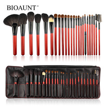 BIOAUNT 24Pcs of Premium Horse & Bristle Animal Hair Makeup Brushes Set Eyebrows Lips Eyelashes Eye Shadow & Face Cosmetic Tools все цены