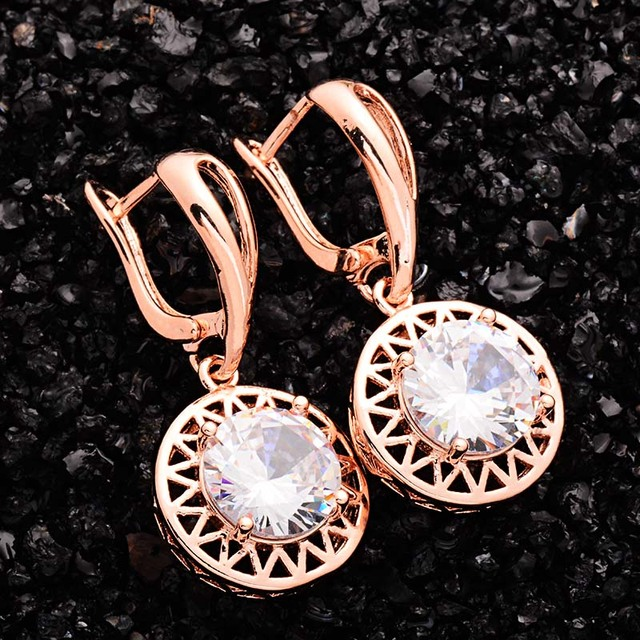 H:HYDE Cute Teardrop Dangle Earrings For Women Round Brilliant Cut Gold Color We
