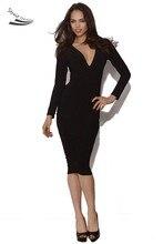Stilvolle sexy lady long sleeve v-ausschnitt party cocktail bodycon halbe dress freies shiping