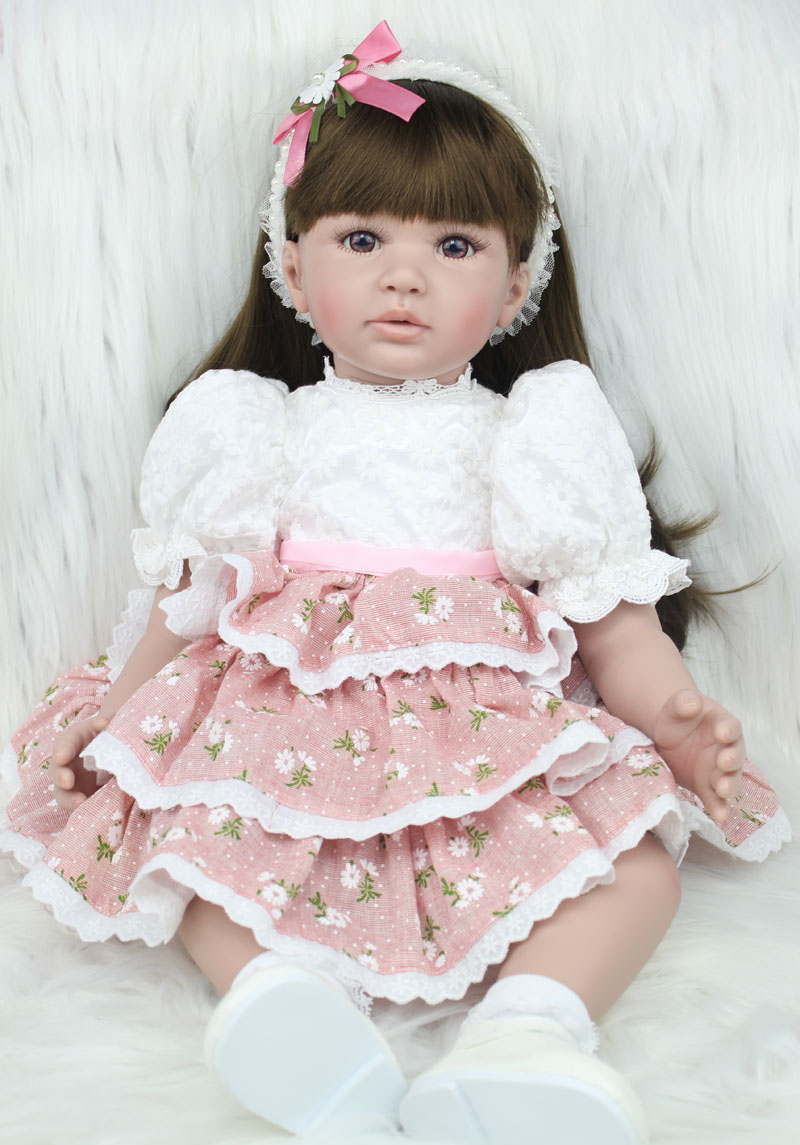 60cm Silicone Vinyl Reborn Baby Doll Toys Lifelike Fashion Baby Girls Birthday Gift Princess Dolls Collection Play House Toy ...