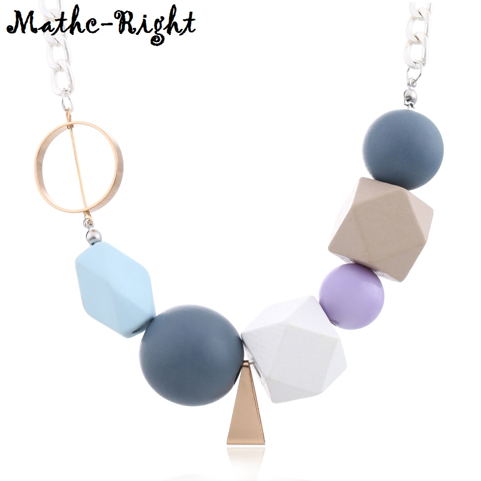 Colorful Wooden Beads Statement <font><b>Necklace</b></font> Women's Multicolor Wood Beaded <font><b>Necklaces</b></font> & Pendants New Arrival Fashion Jewelry MX027