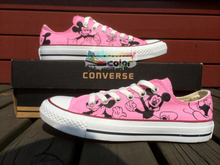 Low Top Pink Converse Chuck Taylor Girls Boys Shoes Mickey Mouse Design Hand Painted Sneakers Women Men Christmas Gifts