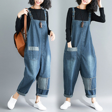 Spring and autumn new style Literary large size loose casual jumpsuit Casual wild fashion jeans strap jumpsuit 2018 spring autumn models wild black casual jeans