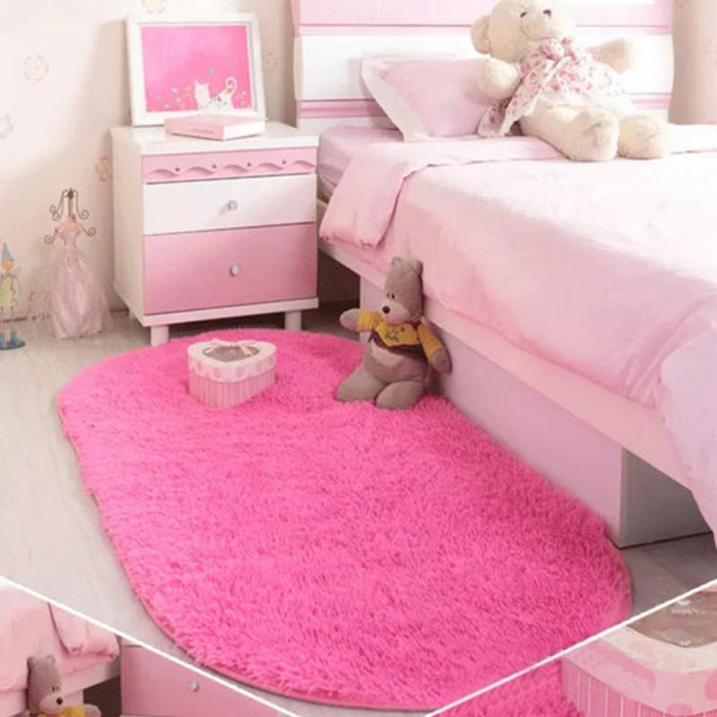40*60cm Solid Color Ellipse Carpet Mat Long Hair Shaggy Soft Area ...