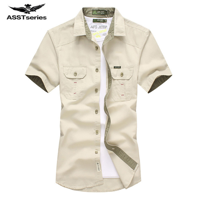9eef2929b4f 2017 New Summer Men Shirts AFS JEEP Male Short Sleeved Solid Color Cotton  Slim Fit Men s Business Casual Shirt D75