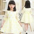 Desgaste das crianças Nova Primavera Lazer Flor Meninas de Manga Comprida Vestido de Princesa Amarelo