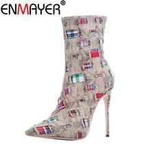 ENMAYER Women Winter Boots Mid-Calf Zippers Denim Stiletto Plus Size 43 Pointed Toe Mending Luxury Brown High Heels Shoes