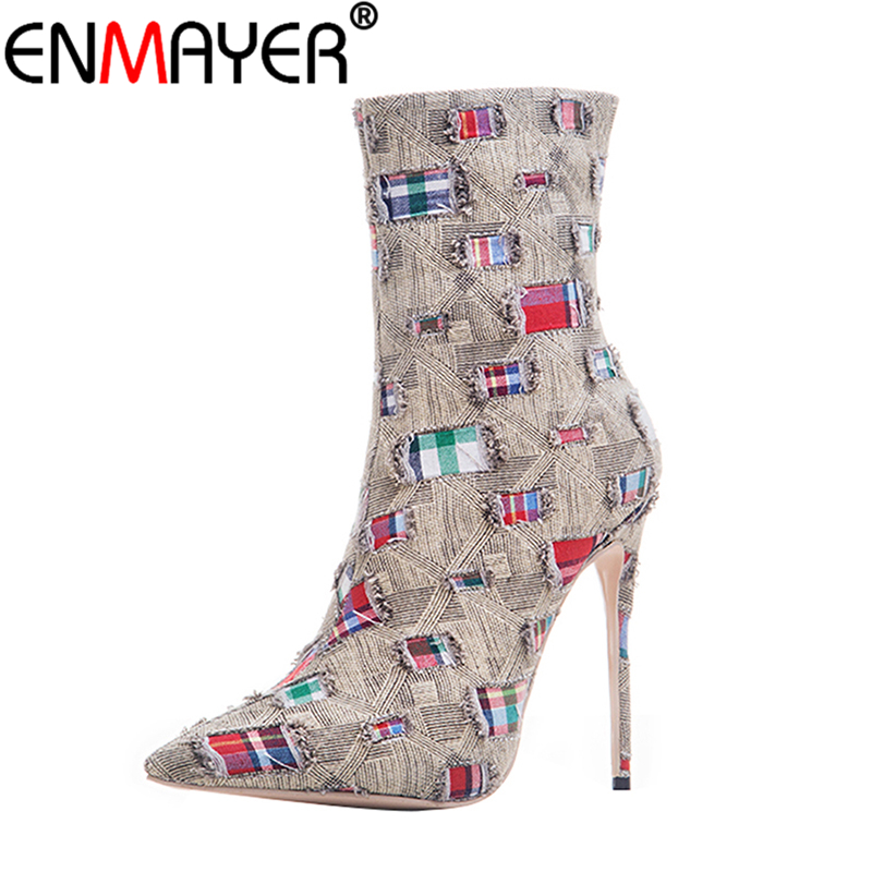 ENMAYER Women Winter Boots Mid-Calf Zippers Denim Stiletto Plus Size 43 Pointed Toe Mending Luxury Brown High Heels Women Shoes double buckle cross straps mid calf boots