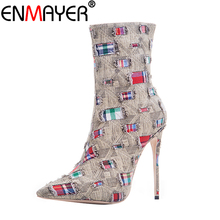 ENMAYER Women Winter Boots Mid-Calf Zippers Denim Stiletto Plus Size 43 Pointed Toe Mending Luxury Brown High Heels  Shoes
