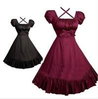 (LLT063) Beautiful Gothic Lolita Dress Short sleeve Shirt Dress for Women Cosplay Costumes Retro Dresses Customized