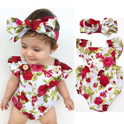 Cotton Floral Fashion Newborn Baby Girl Clothes Flower Jumpsuit Romper Cute Body Headband Outfits