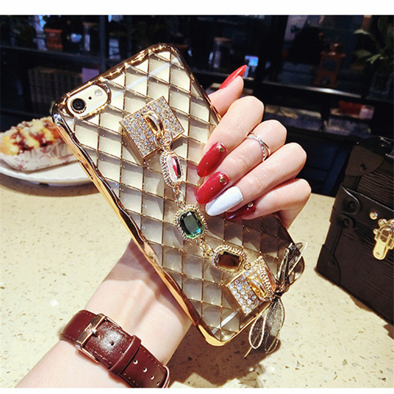 For IPhone 6 6S 7 8 Case DIY Handmade Plating Diamonds Rhinestone Case 2018 New Fashion Soft TPU IPhone7 8 Plus Bracelet Cover