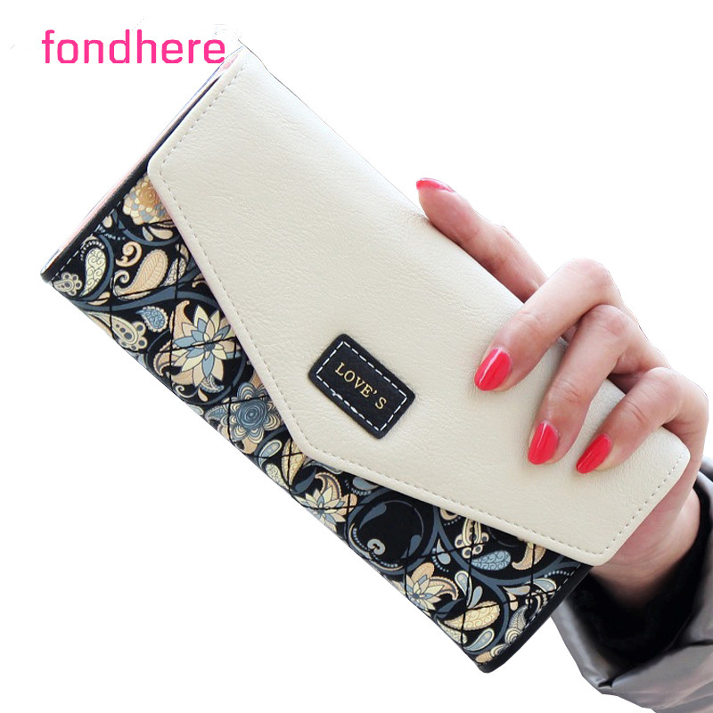 fondhere Wallet Female PU Leather 2017 Wallet Leisure Purse Colorful Style 3Fold Flowers Printing Women Wallets Long Coin Purse