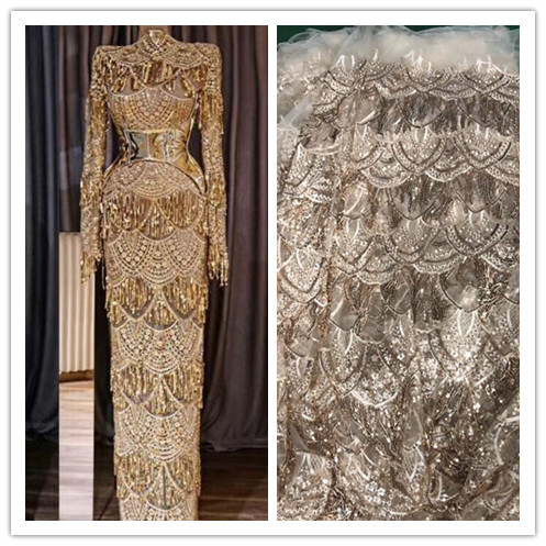 Luxury gold african lace fabric 2018 high quality lace aso ebi mesh fabric Embroidered  Sequins nigerian. US  129.36. ZH120909 Gold big heavy bridal tulle ... 63fd27ac9dd5