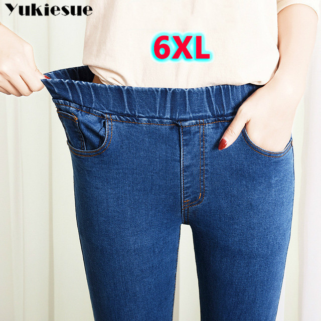 2019 Spring Summer Plus Size 5xl high Elastic Waist Stretch Ankle length push up mom Jeans for Women Skinny Pants Capris Jeans 1