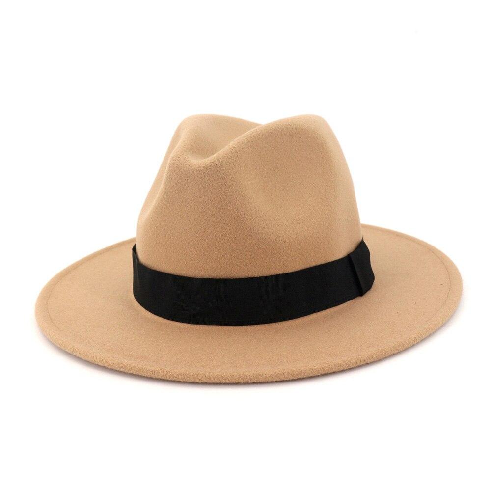 Wool Gray Black Fedora Hat Classical Wide Brim Hat Men Women Vintage Top Jazz Hat Bowler Sombrero Felt Cap