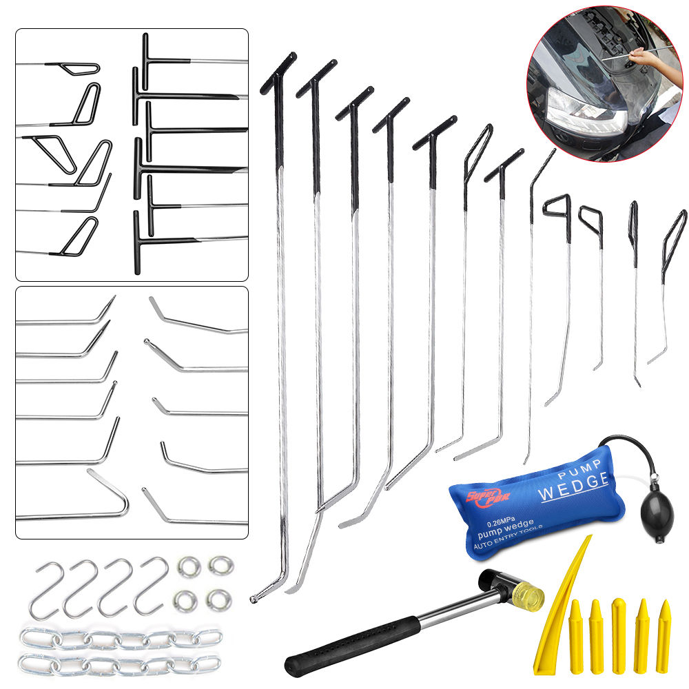 PDR Hook Tools Push Rod Black Car Crowbar Pump Wedge Paintless Dent Repair Tools PDR Kits Ding Hail Puller Set Ferramentas cable access kits 60cm rods with hook rings led light magnet chain cable puller push pull rod sanke rod wire puller