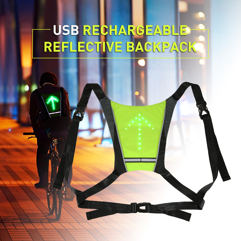 Lixada USB Rechargeable Reflective Vest Backpack with LED Turn Signal Light Remote Control Outdoor Sport Safety Bag Gear