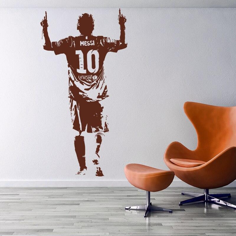 Nieuwe Ontwerp Lionel Messi Figuur Muursticker Vinyl DIY Home Decor Voetbal Ster Decals Voetbal Atleet Voor Kinderkamer 5
